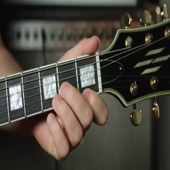 D minor chord on electric guitar Stock Footage