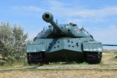 Museum copy of the tank. Monument armored technique Stock Photos