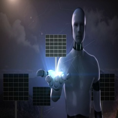Robot cyborg open palm, Solar panel on white background. eco energy. Stock Footage