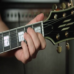 E minor chord on electric guitar Stock Footage
