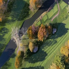 Aerial above Golf Course in Fall Scenery Stock Footage