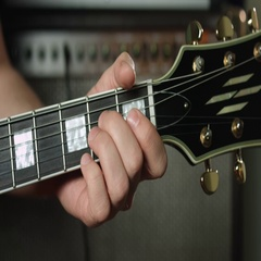 A7 chord on electric guitar Stock Footage