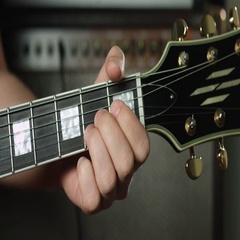 A major chord on electric guitar Stock Footage