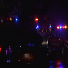 Emergency Teams respond to night call Stock Footage