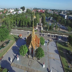 Aerial circling around shrine in central Park,Ubon Ratchathani,Thailand Stock Footage