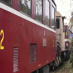 Vintage old red train wagon with windows in Rail station  in Autumn Stock Footage