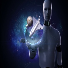 Robot cyborg open palm, Space Sciences Laboratory, planet, astronomy Stock Footage