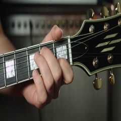 C major chord on electric guitar Stock Footage