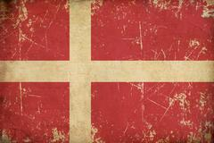 Danish Flag Flat Aged Stock Illustration