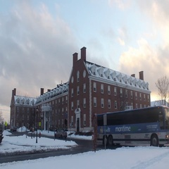Winter Scenery New England Style Red Brick Stock Footage