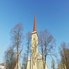 Steadicam shot of a beautiful catholic church in the old town of Estonia. Stock Footage
