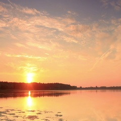Sunset on the lake Mstino, Vyshnevolotsk district, Tver region, Russia, Full HD Stock Footage