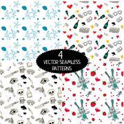 Set of vector seamless patterns. Stock Illustration