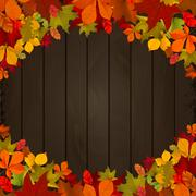Autumn leaves on dark wooden background. Design element for flye Stock Illustration