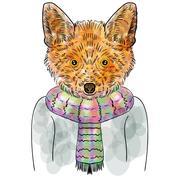 Vector Illustrative Portrait of a orange Fox Stock Illustration