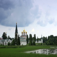 Movement of clouds over Valday Iversky Monastery, 17th century. Valday,  Stock Footage
