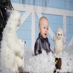Child in studio with artificial snow Stock Footage