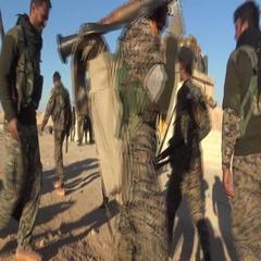 Syria - November 2016: Soldiers leaving, Rakku - offensive, ISIS war, SDF Stock Footage