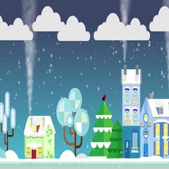 Christmas houses on snowly street on a background of winter night. Flat style Stock Footage