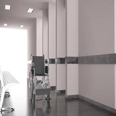 Wheelchair at corridor of hospital Stock Footage