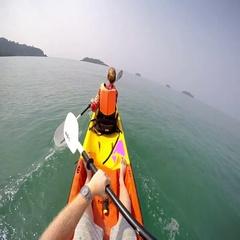 Man paddling in Kayak on sea Stock Footage