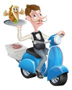Waiter on Scooter Moped Delivering Wrap Kebab Stock Illustration