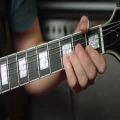 Guitarist play guitar session Stock Footage