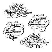 Set Happy Vasant Panchami Utsav handwritten ink lettering inscri Stock Illustration