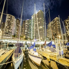 Tides: Hawaii, Marina Boats and City with Moonrise Stock Footage