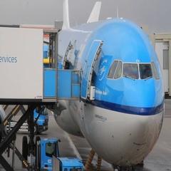 Crew member near plane sleeve enters service cart Stock Footage