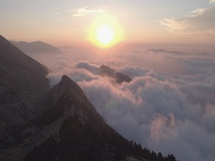 Mountain Sunrise Pull back Reveal Stock Footage