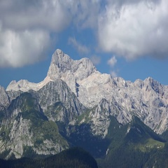 Time lapse footage of huge cloud over mountain Triglav Stock Footage