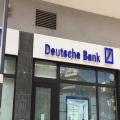 Rome, Italy - July 2016: Deutsche Bank sign outside a branch Stock Footage