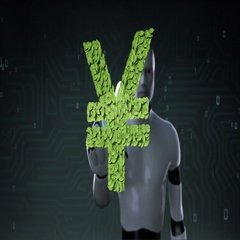 Robot cyborg touching green leaf YEN money, currency sign, made from leaves. Stock Footage
