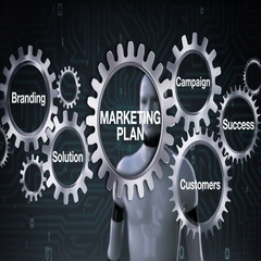 Gear with Branding, Solution, Success, Robot touching 'MARKETING PLAN' Stock Footage