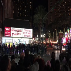 Floats parade with crowded streets at night. Stock Footage
