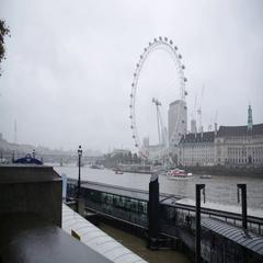 Millenium Wheel in the rain in London Stock Footage