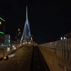 Road of Boston at night near the city tunnel Stock Footage