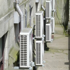 The aircon exhaust fans outside of a building Stock Footage