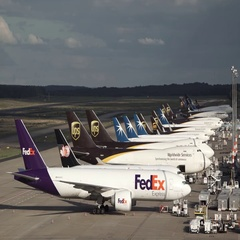Cargo Airplanes Being Loaded at Cologne Bonn Airport Stock Footage