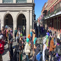 Chartres Street crowd on Mardi Gras. Mardi Gras Stock Footage