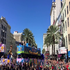 Floats parade in Canal Street. Mardi Gras is the Stock Footage