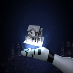 Robot cyborg open palms, real estate, constructed house Stock Footage