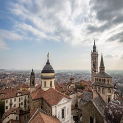 Bergamo città alta view from above Stock Footage