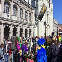 Jackson Square crowd on Mardi Gras. Mardi Gras is Stock Footage