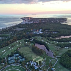 Miami, FL. Key Biscayne park aerial view from helicopter Stock Footage