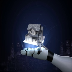 Robot cyborg open palms, real estate, constructed house and house key. Stock Footage