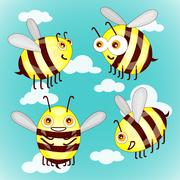 Set cartoon cute bees on sky with clouds vector illustration Stock Illustration
