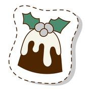 Christmas cookie cake isolated vector icon Stock Illustration