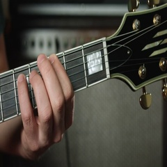 Guitarist play two note chords Stock Footage